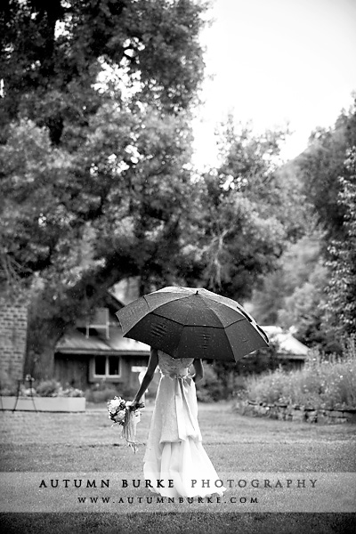 bride walking in rain