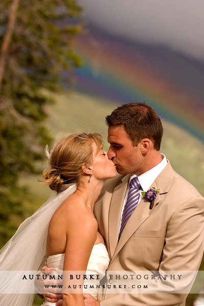 bride and groom rainbow